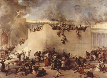 Painting by Francesco Hayez showing destruction of the second temple