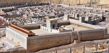 Model of the temple mount on Mount Zion in Jerusalem