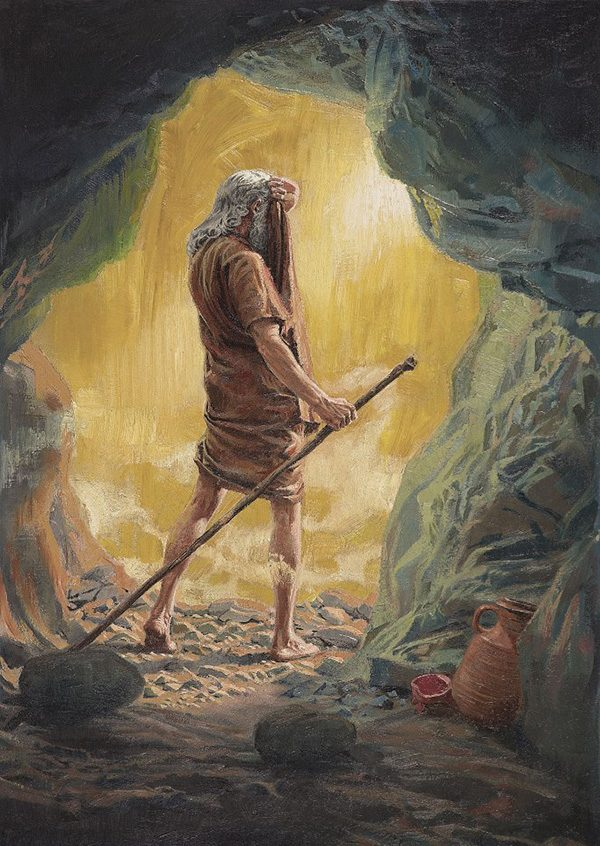 Elijah coming out of his cave.